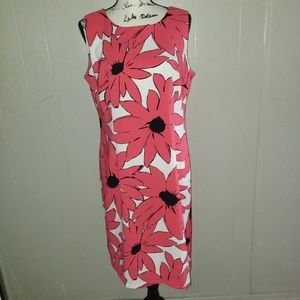 Ronni Nicole Coral & Black Floral Dress Size 14